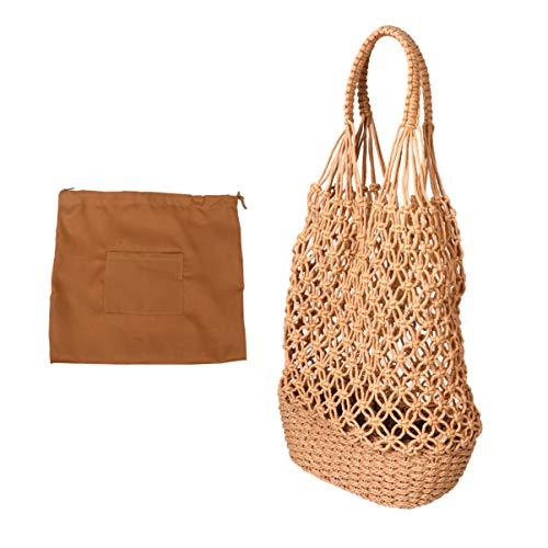 VALICLUD Fischernetz Gewebte Tasche Vintage Hohle Maschentaschen Strohsack zum Einkaufen Gemüse Obst (Hellbraun)