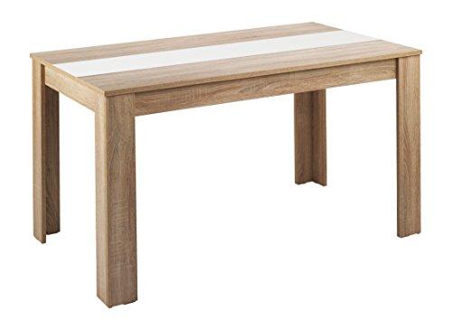 HOMEXPERTS Esstisch NICO / Küchentisch 160 cm / Esszimmertisch / Tisch in Sonoma Holz Eichen-Optik hell-braun / Wendeplatte in der Mitte wahlweise Schwarz oder Weiß / 160 x 90 x 75 cm (L x B x H)
