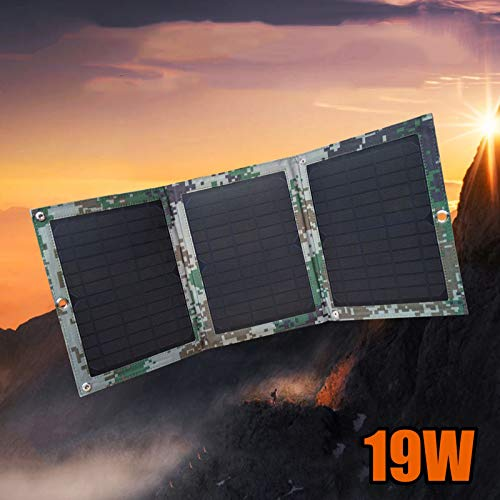 ZSPSHOP Panel Solar Plegable Exterior Militar Gran Capacidad De Alta Potencia Teléfono Móvil Video Carga Generación De Energía Tesoro Junta 19W Plegable
