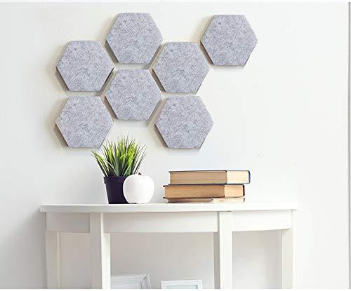 Voelde Zeshoek Board Tegels Set met Volledige Sticky Terug, Pin Board, Maak uw zeer eigen muur Bulletin Board overal in uw huis om een Handige plek om notities foto's Doelen Foto's Tekenen 10_PCS Grijs