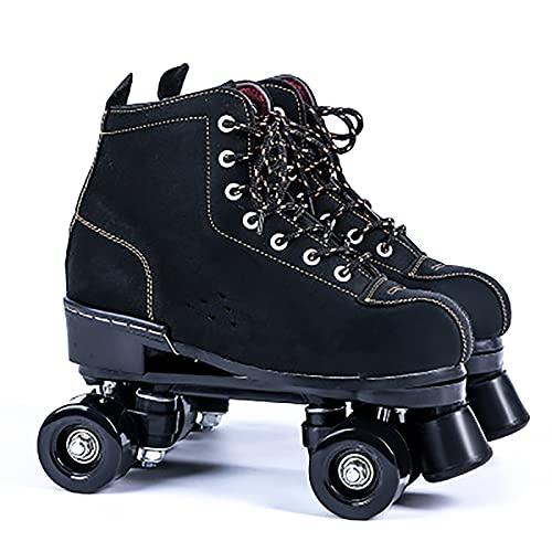 Rollschuhe Artistic, Quad Rollschuhe, Rollschuhe mit PU-Rad Rindsleder Obermaterial, für Mädchen Jungen, Männer und Frauen, Erwachsene Black wheel,34
