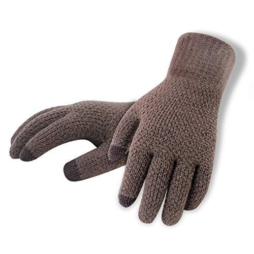 IAMZHL Winter-Herbst-Mann-gestrickte Handschuh-Touch ScreenMann verdicken warme Handschuh-Mann-Handschuh-CoffeeNoLogo-One Size