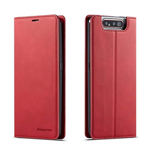 QLTYPRI Hülle für Samsung Galaxy A80 A90, Premium Dünne Ledertasche Handyhülle mit Kartenfach Ständer Flip Schutzhülle Kompatibel mit Samsung Galaxy A80 A90 - Rot
