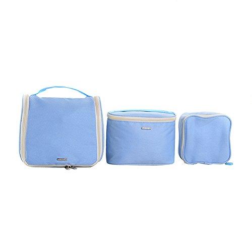 Qearly Multi-Function Trois pièces Sac de Toilette Voyage Sac de suspension-Bleu