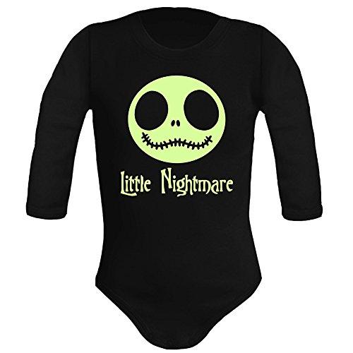 Body bebé unisex. Parodia Little Nightmare - The nightmare before christmas (Pesadilla antes de Navidad). Regalo original. Body bebé divertido. Body friki. Manga larga. (3 meses, negro)