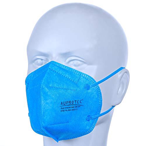 AUPROTEC 20 Stück AM-100-B4 Mehrweg Mundschutz Maske mit innen liegendem Vlies 5 lagig sehr gut für Mund- und Nasenschutz blau