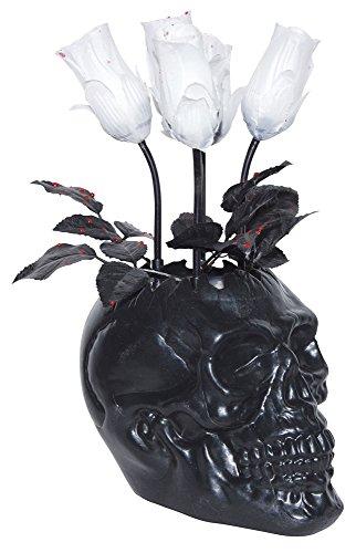 Animated Black Skull Vase with White Bloody Roses