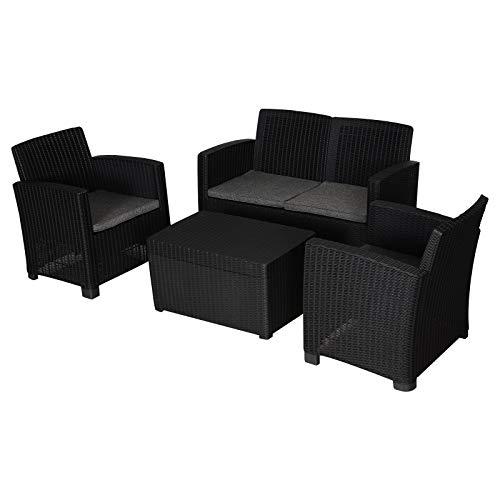 Outsunny Gartenmöbel-Set aus Polypropylen im Rattan-Stil, 4-Sitzer, für Außenbereich, Terrasse, 2 Einzelstühle und 1 Bank, gepolstert, Schwarz