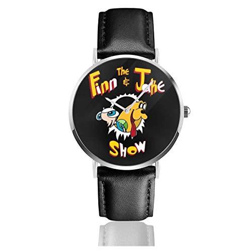 Unisex Business Casual Ren und Stimpy Die Finn und Jake Show Adventure Time Uhren Quarz Lederuhr