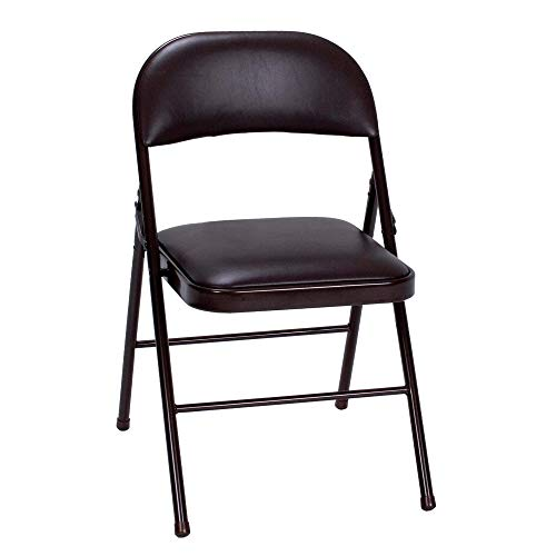 Cosco Vinyl Folding Chair, 4 Pack, Black