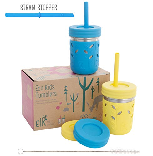 Elk and Friends Stainless Steel Cups/Mason Jar 10oz - Kids cup/Toddler Cups with Silcone Sleeves, Silicone Straws, Straw & Regular lids - Sippy cups, Spill proof cups for Kids, Smoothie Cups