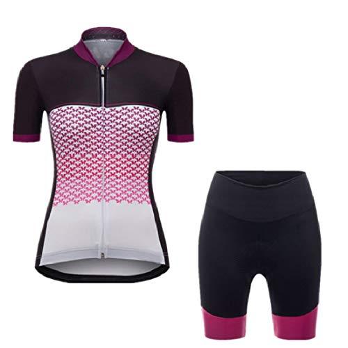 X-Labor Damen Radtrikot Set Atmungsaktiv Jersey Kurzarm + Radhose mit 3D Sitzpolster Outdoor Fahrradbekleidung A-violett XL
