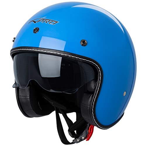 Motorrad Jet Helm Cafe Racer ECE 22-05 Sonnenblende Scooter Blau M