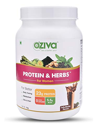 OZiva Protein & Herbs Whey Protein With Ayurvedic Herbs For Women, Cafe Mocha, 31 Servings, 0g added Sugar