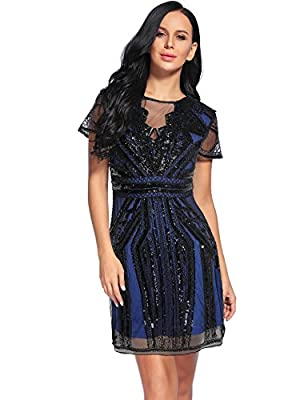 Women's Mesh Backless Vintage 1920s Beads Sequin Flapper Dress