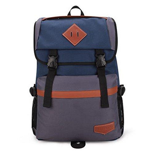 Durable Casual School Bag Laptop Shoulder Bag Travel Backpack,Navy/Grey