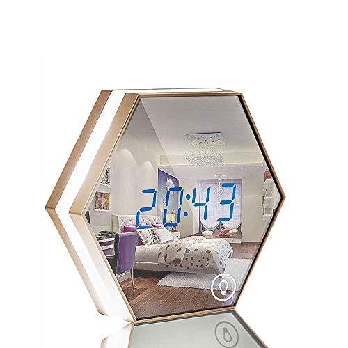 Myfei Elektronische klok met spiegel en alarmfunctie, met digitale temperatuurweergave, verlichte klok