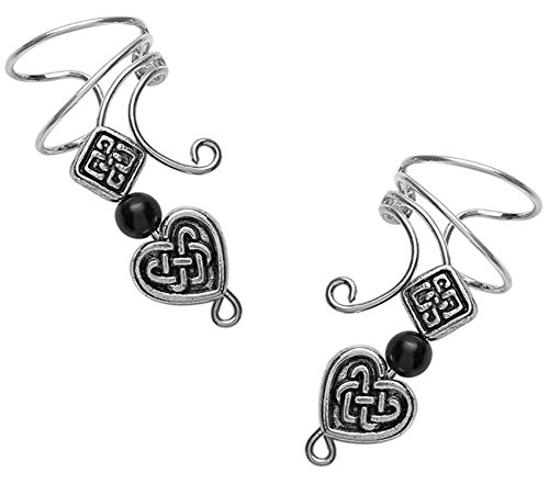 Long Wave Ear Cuff with Pewter Celtic Heart, Square & Onyx Non-pierced Pair Sterling silver Wrap Earrings