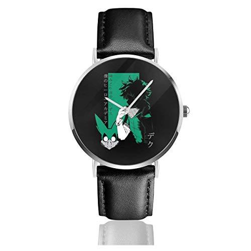Unisex Business Casual My Hero Academia Deku Profile Relojes Reloj de Cuero...
