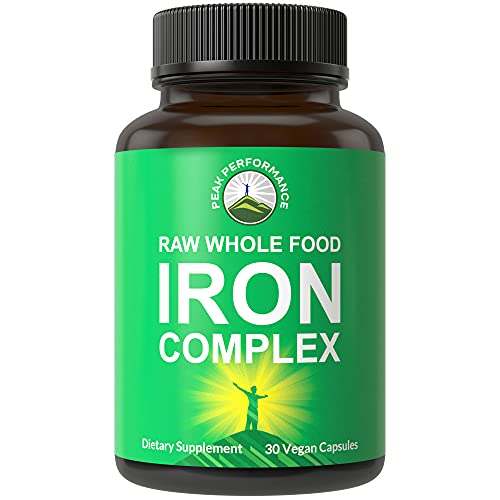 Raw Whole Food Iron Complex Vegan Supplement for...