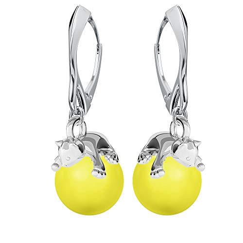 Pendientes de plata de ley 925 con perlas de Swarovski – Gato – Amarillo neón – Pendientes para mujer – Bonita joya para mujer con caja de regalo