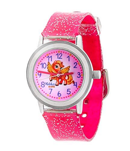 KIDDUS Reloj de Pulsera analógico para niña, Chica. con Ejercicios educativos para Aprender la Hora. Mecanismo de Cuarzo japonés Purpurina, Elegante y a la Moda (Pony)