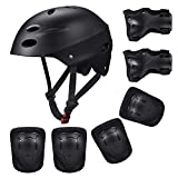 Kids Protective Gear Set, 7 in 1 Adjustable Bike Helmets for Roller Skating Skateboard BMX Scooter Cycling Age 3-8 Years Old Boys Girls (Knee Pads+Elbow Pads+Wrist Pads+Helmet)- Black