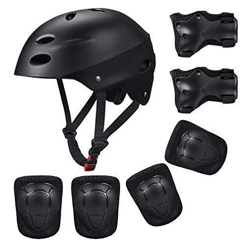 KUYOU Kinder Sport-Schutzausrüstung, 7PCS Knieschoner Ellenbogenschoner Handgelenkschutz Helm Schutzset zum Draußen Rollschuhlaufen Inline Skates Skateboarding Radfahren (schwarz)
