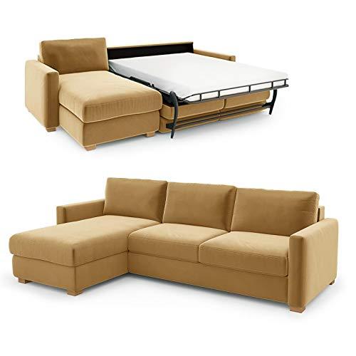 place to be. Schlafsofa 140 cm breit mit Bettkasten 3 Sitzer Sofa mit Schlaffunktion ausklappbar Gästebett mit Recamiere Links Gelb
