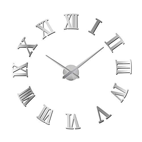ufengke Orologio da Parete Grandi Metallo Moderno Argento Orologio da Muro al Quarzo 3D DIY di Numeri Specchio Romani 77 cm