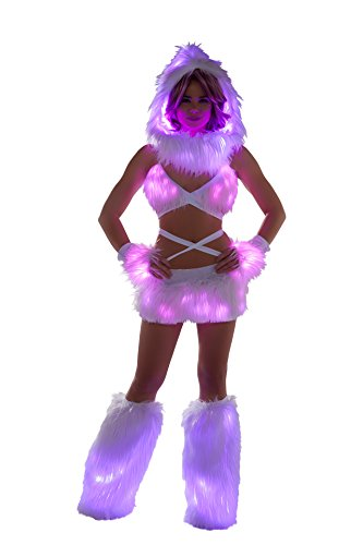 J. Valentine Women's Faux Fur Light-Up Skirt with Lights, White (Pink Lights), Medium/Large