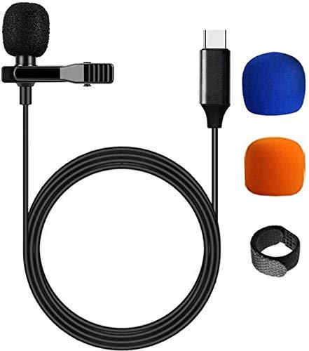 Micrófono Lavalier de Solapa Tipo C para Android, Micrófono de Condensador omnidireccional Profesional USB-C de Solapa con Clip de Solapa. (6,6 pies)