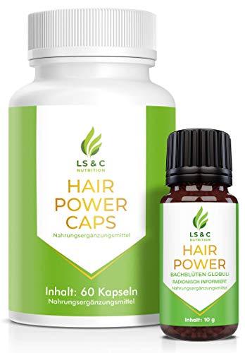 Hair Power Globuli | radionisch informiert | nach Haarwachstum, Haarausfall Produkten beim Mann und der Frau | 10g + Hair Power Caps | 60 Kapseln