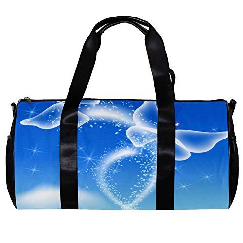 Borsone rotondo da palestra con tracolla staccabile con farfalle scintillanti volano nel cielo blu allenamento borsa per la notte per donne e uomini