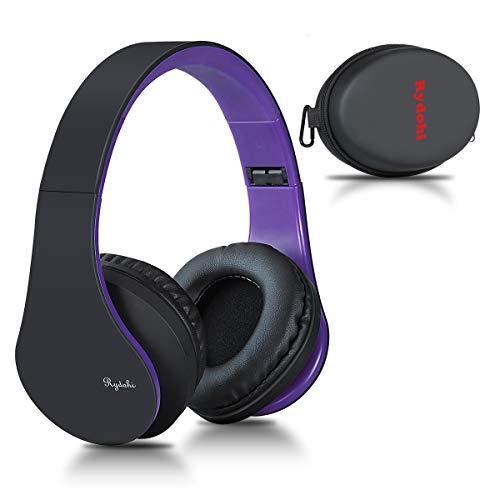Bluetooth Over Ear Kopfhörer, Rydohi Wireless Stereo Headset Klappbares Kopfhörer mit Integriertem Mikrofon/FM Radio /MP3 Player für iPhone, Android, PC - Schwarz Lila