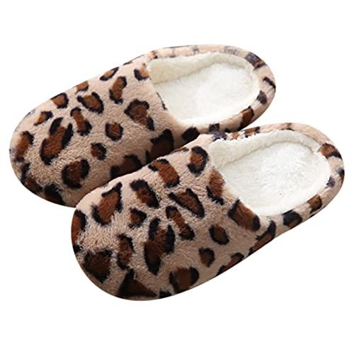 Dasongff Fuzzy Leopardenmuster Hausschuhe für Damen Herren Soft Warm Plüsch Pantoffeln mit Weiche Memory Foam Rutschfeste Bequeme Hausschuhe Pantoletten Hüttenschuhe Winterschuhe Indoor Outdoor