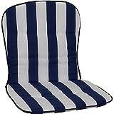 Beo Niedriglehner Auflagen Waschbar Kos   Made in EU nach Öko-Tex Standard   Atmungsaktive Stuhlauflage Niedriglehner   UV-beständige Auflagen Niedriglehner mit Streifen in Blau-Weiß