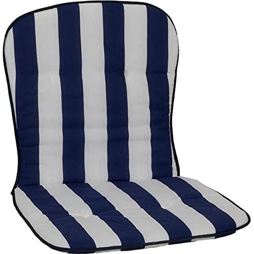 Beo Niedriglehner Auflagen Waschbar Kos | Made in EU nach Öko-Tex Standard | Atmungsaktive Stuhlauflage Niedriglehner | UV-beständige Auflagen Niedriglehner mit Streifen in Blau-Weiß