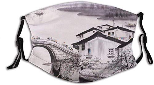 YTYTY Old House Bridge Bajo el estilo artístico de pintura de tinta para adultos turbante cara cuello polainas pasamontañas, senderismo, ciclismo, escalada en roca
