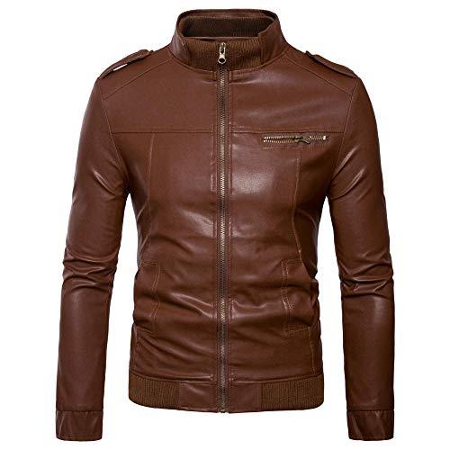 Heren Tops Fashion Horizontal Zipper Short Slim Leer Heren Staande kraag Casual Wassen Motorcycle Leer