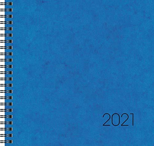 Brunnen 1076601301 Buchkalender Quadratkalender groß Modell 766, 2 Seiten = 1 Woche, 210 x 205 mm, Karton-Einband blau, Kalendarium 2021, Wire-O-Bindung