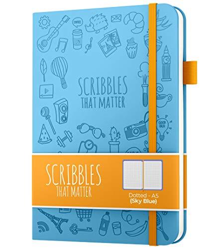 Diario de puntos A5 de Scribbles That Matter - Cuaderno Bullet Journal Dot Grid - Papel apto para plumas estilográficas gruesas sin sangrado - de tapa dura - Versión icónica - Cielo azul
