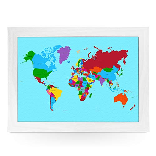 Portable Lap Desk Tray (Traditional World Map) Handmade Wooden Frame, Beanbag Cushioned Bottom   Computers, Laptops, Meals, Food   L0780 White