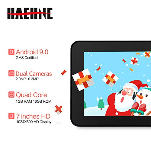 Haehne 7 Zoll Tablet PC, Google Android 9.0 GMS Zertifiziertes, HD Bildschirm, 1GB RAM 16GB ROM Quad Core, Zwei Kameras, Bluetooth, WiFi, Blau