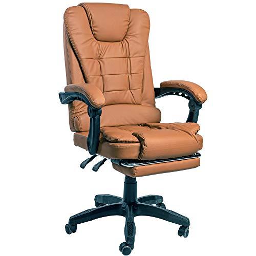 Trisens Schreibtischstuhl Design Bürostuhl Racing Chair Chefsessel Gamingstuhl Fußstütze, Farbe:Braun