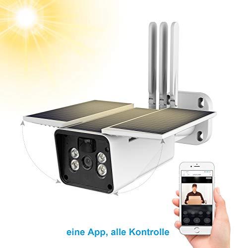 FUVISION Solarbetriebene Kamera kommt mit einen Solarpanel und einen Aufladbaren Akku,1080p WLAN Kamera,IP66 Wasserdicht,Zweiwege Audio,Nachtsicht,Bewegungserkennung,Smarte Überwachung mit Phone App