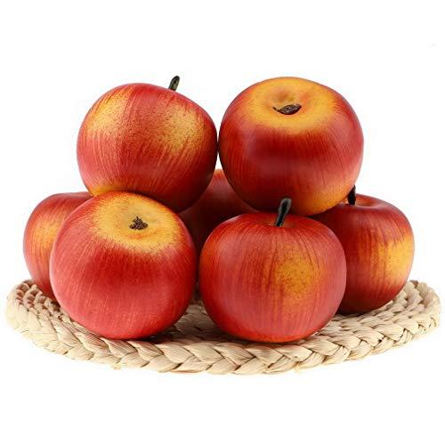 Gresorth 6 Stück Lebensechte Künstliche Rot Apfel Faux Gefälschte Apfels Früchte Obst Deko