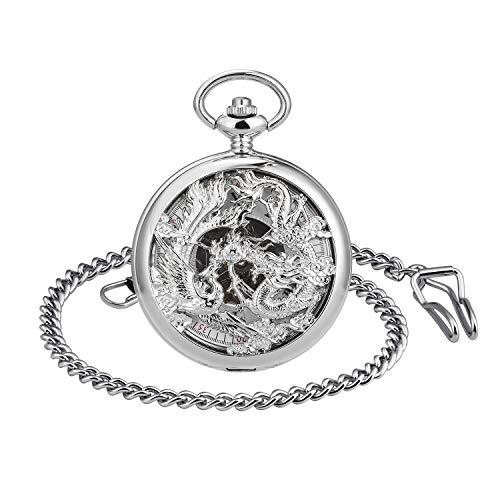 Infinito U- Números Romanos Dragon y Fénix/Reno Patrón Hueco Mecánico Reloj de Bolsillo Idea Regalo para Hombre Mujer