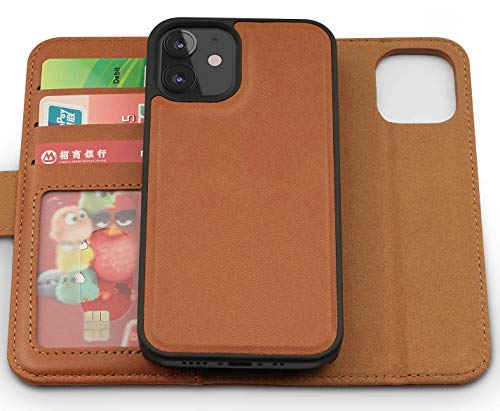 iATO 2-in-1 Leather Wallet Case for iPhone 12 - Magnetic Detachable Shock-Proof Case - Durable, Slim & Lightweight Brown PU Leather Case Designed for New 2020 iPhone 12 6.1-inch Display