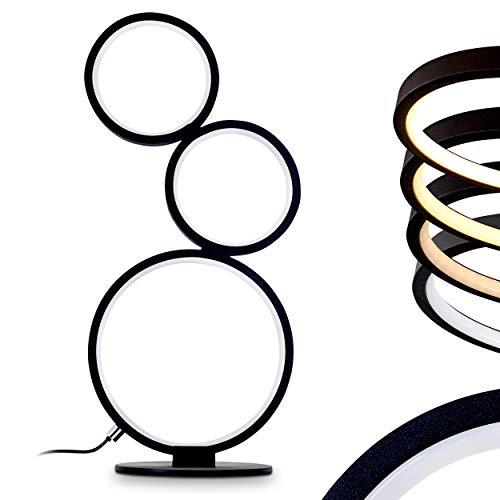 Lámpara de mesa Rodekro LED, en metal negro, 1 luz, 17 vatios, 1500 Lumen, 3000 Kelvin (blanco cálido). Equipado con un interruptor en el cable para graduar la intensidad de la luz
